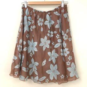 Silk cotton blend floral flare skirt